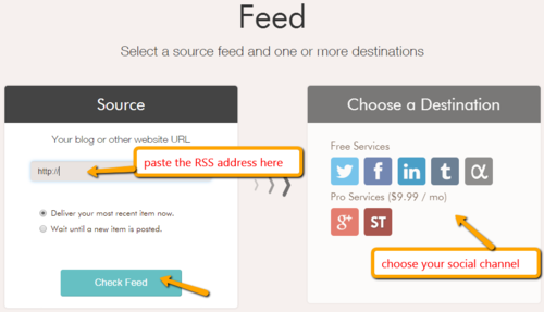 Select a source feed