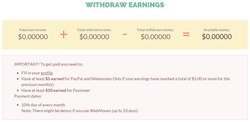 Withdraw Earnings