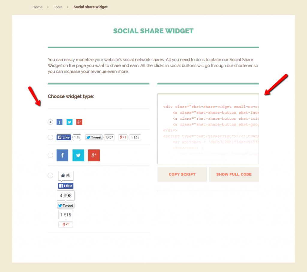 social share widget script